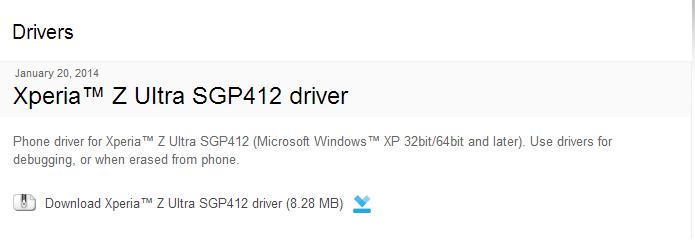 Xperia- Z Ultra SGP412 driver - Developer World